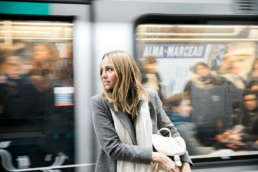 Photo of Stephanie Tusler in front of the Metro Train in Paris, France