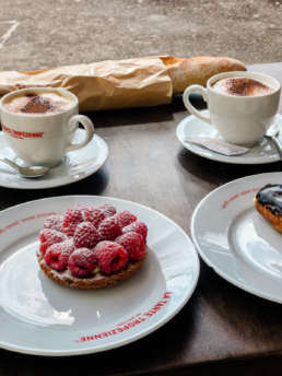 Photo of a Tarte and coffee from La Taste Tropezienne in Saint. Tropez, France