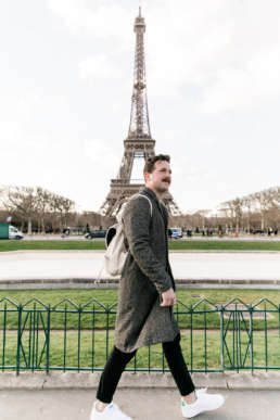 Perry Tusler in Front of the Eiffel Tower in Paris, France